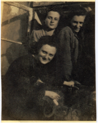 Image: Livia, Cibi and Magda Meller in Vranov, Czekoslovakia, 1942 (a month prior to being taken to Auschwitz).